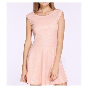 Blush Pink Sleeveless Backless Sequin Short Dress